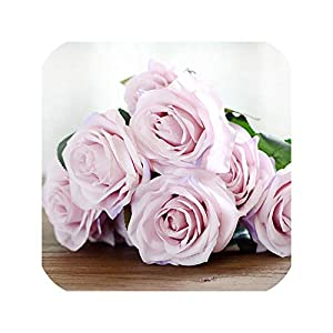 10 Heads Rose Artificial Flower French Silk Flower Rose Bouquet for Wedding Home Party Decoration Fake Flower Fall Decoration,Light Purple 82