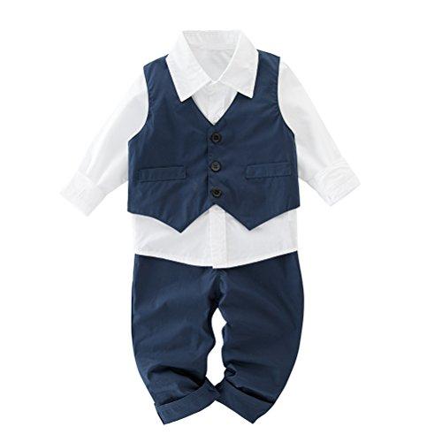 May's Kids Boys' Waistcoat Long Sleeves Shirts Pants Gentleman Suit 3 Pieces (1 Waistcoat)