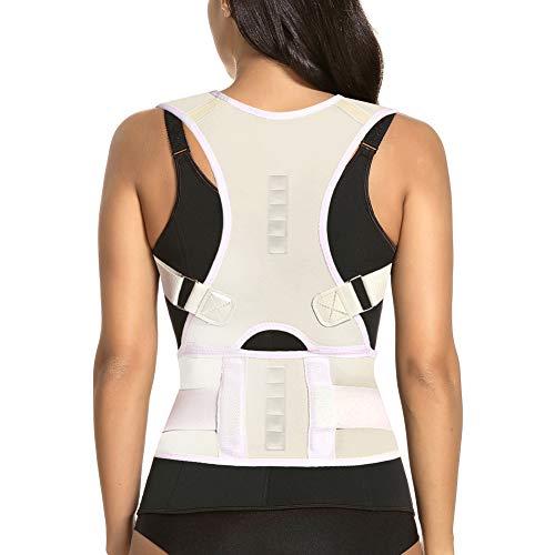 (Thoracic Back Brace Posture Corrector - Magnetic Support for Neck Shoulder Upper and Lower Back Pain Relief - Perfect Posture Brace for Cervical Lumbar Spine - Fully Adjustable Belt (Beige, Large) )