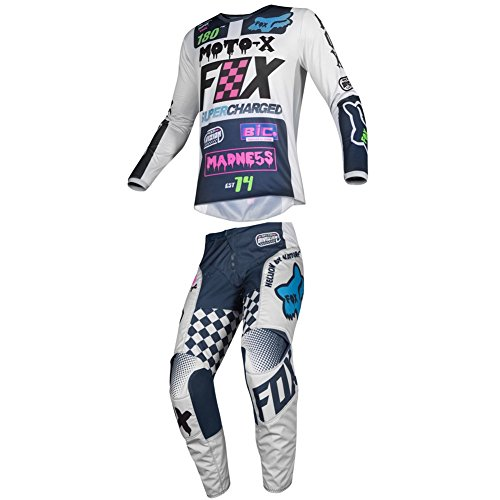 (Fox Racing 2019 YOUTH 180 CZAR Jersey and Pants Combo Offroad Riding Gear Gray XL Jersey/Pants 28W)