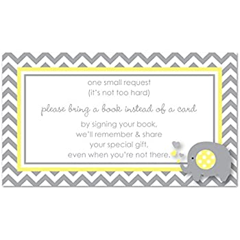 48 Grey Yellow Elephant Bring A Book Baby Shower Card