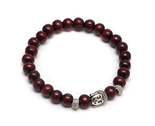 ZENGER Jewelry Mens Antique Buddha Beaded Stretch Bracelet - 8mm Cherry Wood (Wood Beaded Jewelry)