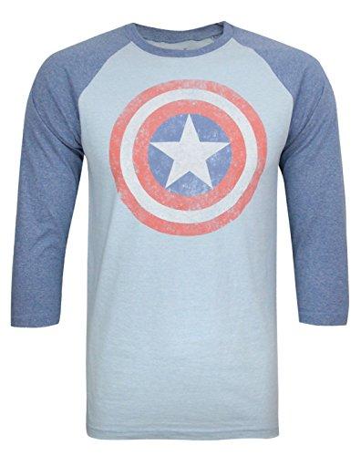 Jack Of All Trades Captain America Vintage Logo Men's Raglan Top (S)