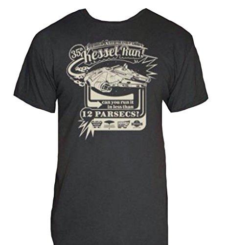 New Kessel Run T-Shirt-Star Wars Millenium Falcon Novelty Shirt - Navy XL