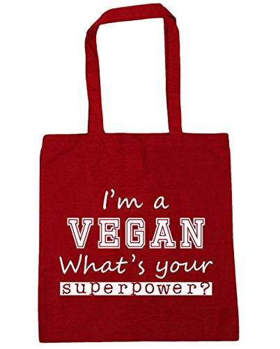 HippoWarehouse I'm A Vegan What's Your Superpower? Tote Shopping Gym Beach Bag 42cm x38cm, 10 litres Classic Red
