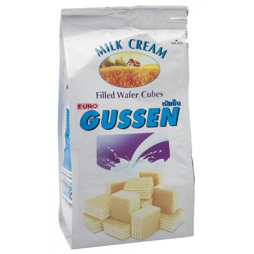 Gussen Milk Flavored Cream Filled Wafer Cubes 100 (Cocoa Petal Dust)