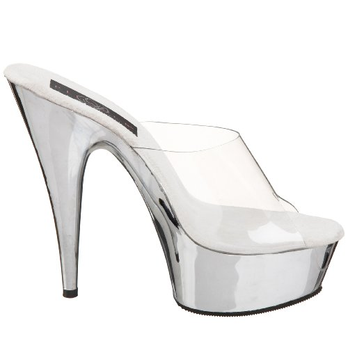 Pleaser Delight-601 - Sandalias Mujer Clr/Slv Chrome