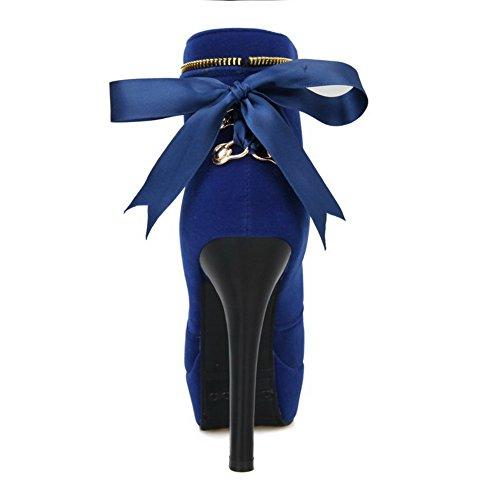 Amoonyfashion Femmes Imité Daim Givré Rond Fermé Orteils Bas-haut Pointes-stilettos Bottes Bleu