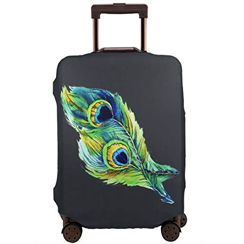 MKJIH Peacock Feathers Travel Suitcase Protector Zipper Travel Luggage Cover Baggage Suitcase Protector Cover Fit 18-32 Inch
