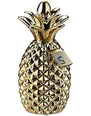 Relaxdays spaarpot, spaarpot in trendy design, munten & biljetten, decoratie ananas, HxD 24 x 10,5 cm, goud, 1 stuk