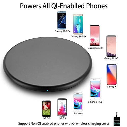 Wireless Charger,Qi Certified Ultra-Slim Wireless Charging Pad with Black Magic Gloss Base,Qi Wireless Charger Compatible with iPhone X,XS,XS Max, iPhone XR, 8/8 Plus,Samsung Galaxy Note 9/S9/+,Note8