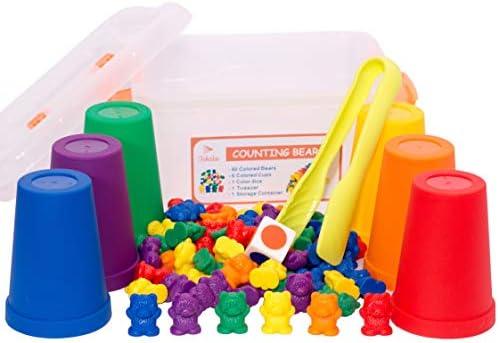 [해외]무지개 카운팅 곰-마모 방지 플라스틱 카운팅 곰 어린이용 - 교육용 분류 장난감 유아 미취학 및 초급자용 무독성 어린이 계수 곰 기술 개발 / Rainbow Counting Bears-Wear Resistant Plastic Counting Bears for Kids-Educational Sorting Toys Pe...