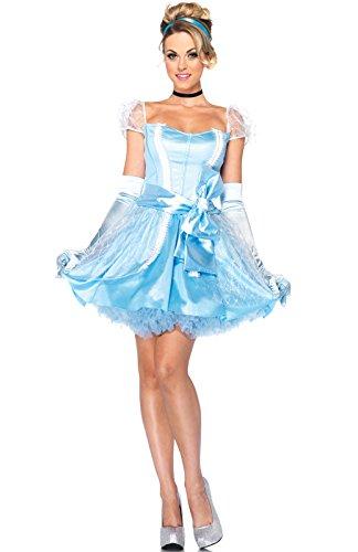 Leg Avenue Disney 3Pc.Classic Cinderella Dress Choker and Head Piece, Blue, Large
