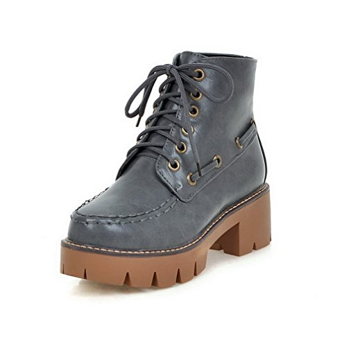 AgooLar Women's Low-Top Lace-up Soft Material Kitten-Heels Round Closed Toe Boots Gray OR0khZ