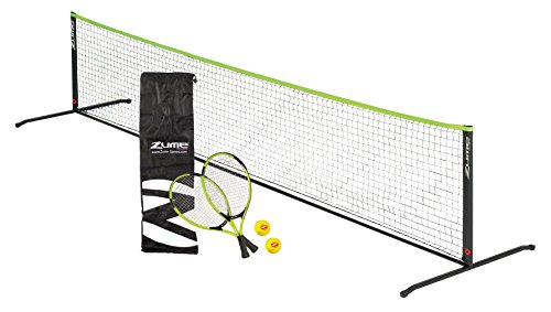 (Zume Games Portable, Instant Tennis Set Includes Two Rackets, Two Balls, Net, and Carrying)