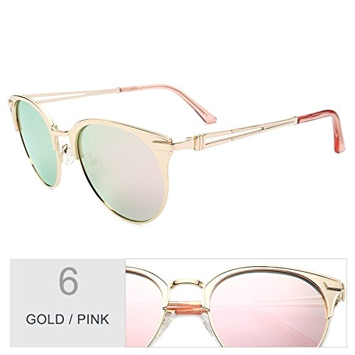 lente Atrás de Gafas oro de mujer Sunglasses mujer de de Gato Brown aleación gafas Polaroid Ojo sol Gold UV400 Pink TL de de Marco v5qawfax