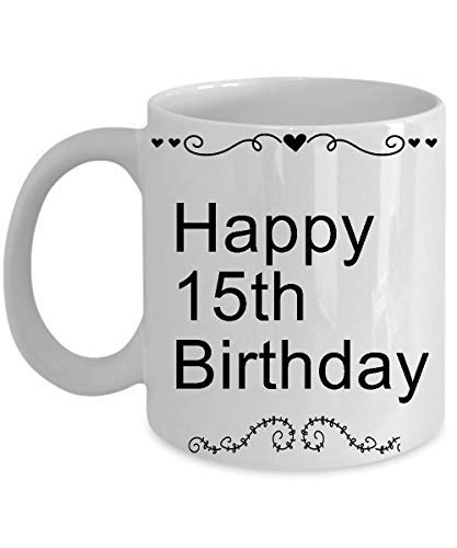 Happy 15th Birthday Mugs For Teen 11 OZ - Awesome Since 2003-15 Year Old Girl Gifts Ideas - 15th Birthday Gifts For Girls Teen, Her, Sister, Niece, Daughter For Birthday, Christmas - Ceramic