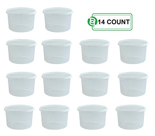 (Party Bargains Storage Containers with Lids, Size: 64 oz (Half Gallon), Count: Pack of 14)