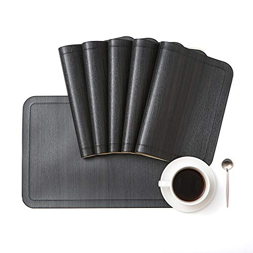 DOLOPL Placemat PU Leather Placemats Set of 6 Waterproof&Washable Heat-Resistant Non-Slip Anti-Skid Table Mats for Kitchen Dining Table in Black