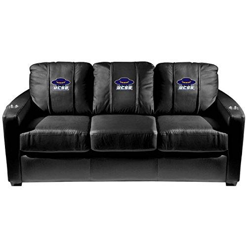 XZipit College Silver Sofa with Cal at Santa Barbara Gauchos Logo Panel, Black