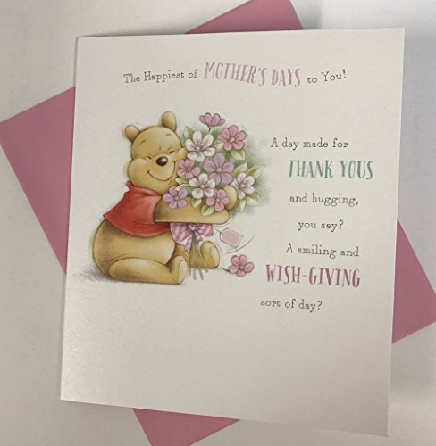 Pooh Flower (Winnie The Pooh Holding Flowers Mother's Day Card)