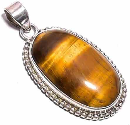 ZP-25 Mughal Gems /& Jewellery 925 Sterling Silver Pendant Natural Black Botswana Agate Oval Gemstone Ethnic Style Handmade Jewelry for Women /& Girls Pendant 2