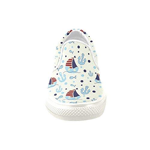 D-story Custom Sneaker Anchor Ship Fish Women Ongebruikelijke Instappers Canvas (model 019)