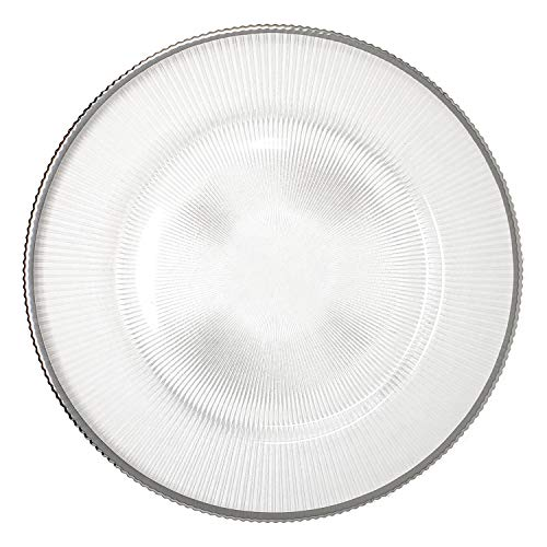 Fantastic Premium Thick Round Fluted Clear Glass Silver Rim Round Shape Dinner Charger Plates for Table Top Decor for Home Holiday Party Wedding Catering Event Decoration (2) 2 Dinner Plates Flowers