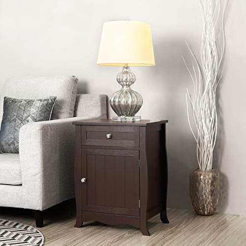 SONGMICS Night Stand  End Table Chair Side Table Wooden Furniture with Drawer and Cabinet for Storage Brown ULET02BR