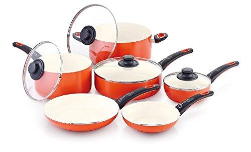 Fiesta 10 Piece Aluminum Non-Stick Ceramic Cookware Set with Bakelite Handle, Poppy