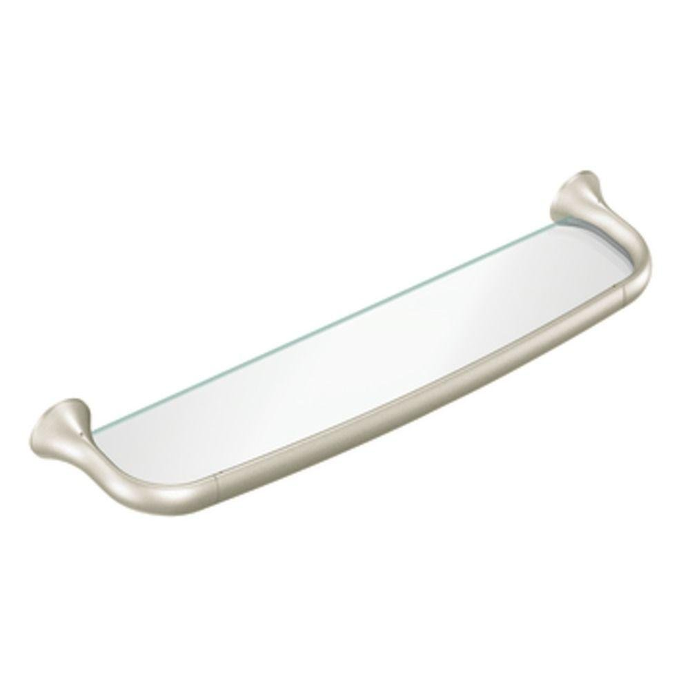 Moen YB9290BN Fina Glass Vanity Shelf, Brushed Nickel - Mounted ...