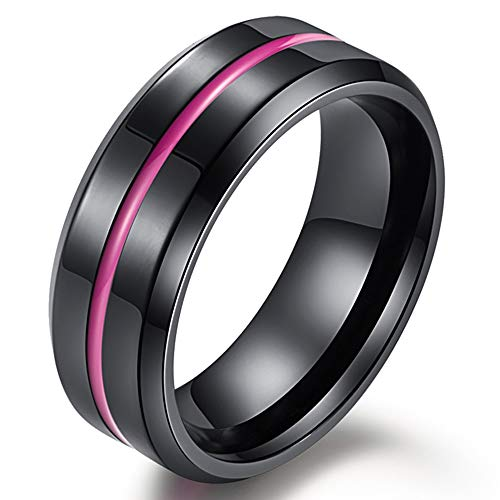 Fashion Month Mens 8mm Stainless Steel Channel Set Pink Epoxy Wedding Engagement Black Grooved Band Beveled Edges Ring Size 12