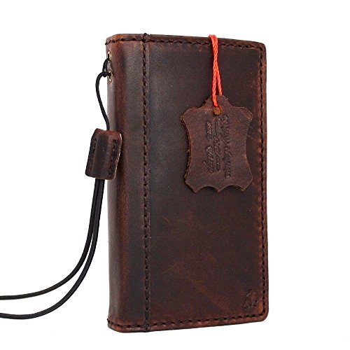 Genuine vintage Leather Classic Case for Iphone 4 4s Book Wallet Handmade cover slim brown thin Id daviscase (Vintage Iphone 4s)