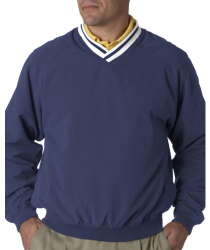 UltraClub Adult Cross-Over V-Neck Microfiber Windshirt, Royal/Wht, Large (Adult V-neck Windshirt)