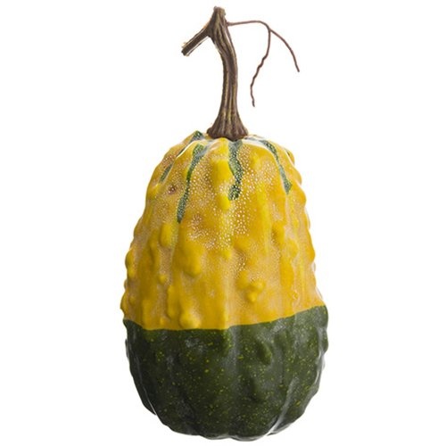 9''Hx4''W Artificial Weighted Gourd -Yellow/Green (pack of 12) by SilksAreForever