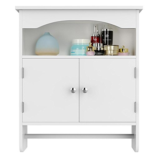 Topeakmart White Wood Bathroom Wall Mount Cabinet Toilet Medicine Storage Organizer Bar by Topeakmart (Image #8)