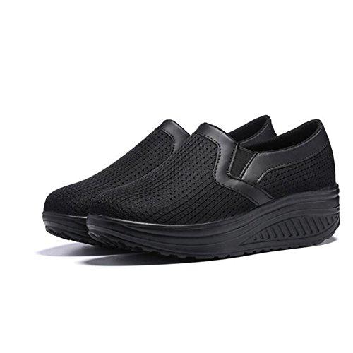 Shoes Color Platform Black Black Boat Hiking Shaking Casual Size Running Shoes Wedge 36 Ladies Women's Casual Sneakers Mesh Walking qIZ56xwAf