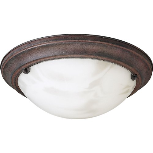 (Progress Lighting P3480-33 Close-To-Ceiling Semi-Flush Fixture with Faux Tiffany Art Glass, Cobblestone)