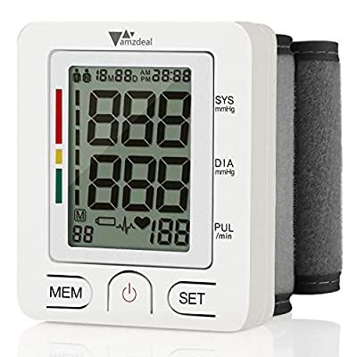 Wrist Blood Pressure Monitor - Amzdeal Blood Pressure Cuff BP Machine with Heartbeat Detector, Reading Storage for 2 Users, Home Use, FDA Approved