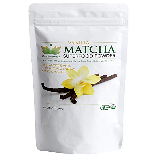 Matcha Green Tea Powder, Vanilla Premium Grade Superfood Powder| Stress Support, L-Theanine, Polyphenols, High Antioxidants, Amino Acids, Anxiety Relief, Mental Performance