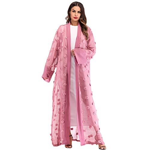(Sunyastor Muslim Dresses for Women Tunics Ethnic Robes Abaya Islamic Muslim Maxi Dress Bandage Kaftan Lace Sheer Cardigan)