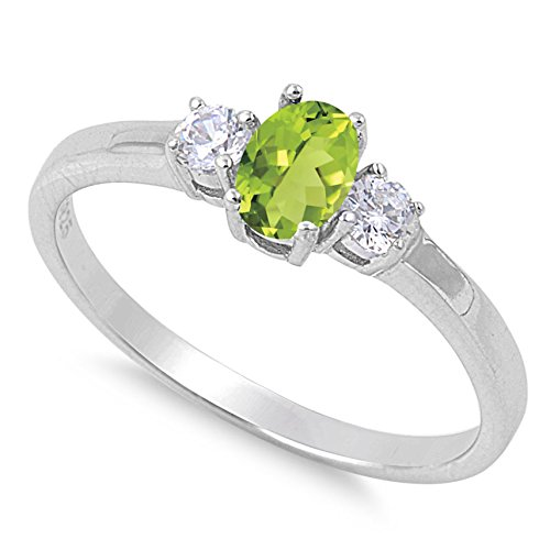 (925 Sterling Silver Faceted Natural Genuine Green Peridot Oval Ring Size 7)