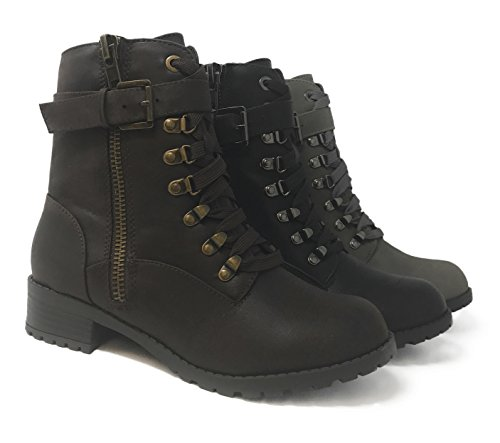 Soda Frauen Oracle Lace-up Combat Gefaltete Manschette Riding Mid-Calf Stiefel Brauner Dist