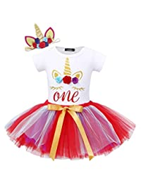 Cotrio Unicorn 1st Birthday Dress Baby Girls Party Romper Outfits Clothes with Headband