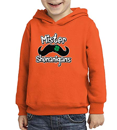 Mister Shenanigans - Four Leaf Clover Toddler/Youth Fleece Hoodie (Orange, X-Small (Youth))