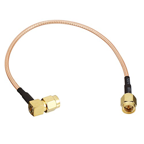 uxcell 200mm Length Gold Tone Right-angle SMA Male to SMA Male Jack RF Coaxial Adapter Connector