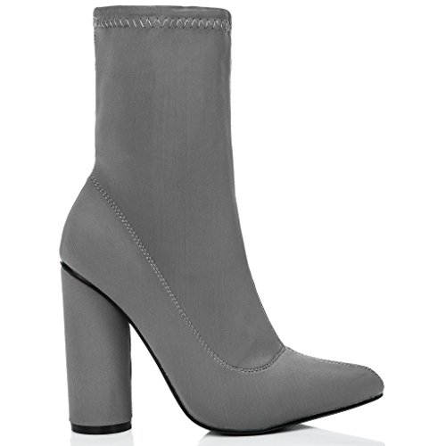 Shoes Spylovebuy Scirica Ankle Grey Boots Cylinder Lycra Heel Women's Ypw1qYH