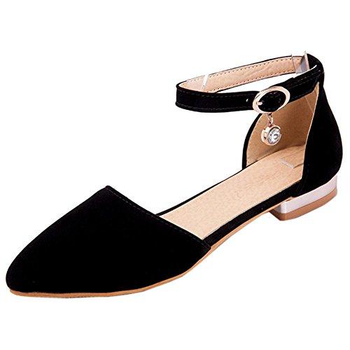 TAOFFEN Women Ankle Strap Court Shoes Flats Black hCRMjsPuY