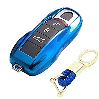 Blue TM Royalfox Luxury 3 4 Buttons TPU Smart keyless Entry Remote Key Fob case Cover for Porsche Boxster 981 Cayman Carrera 911 991 996 997 Cayenne Macan Turbo Accessories,with Keychain