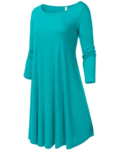 Round Neck Loose Fit Flowy Stretch Knit 3/4 Sleeve Dresses